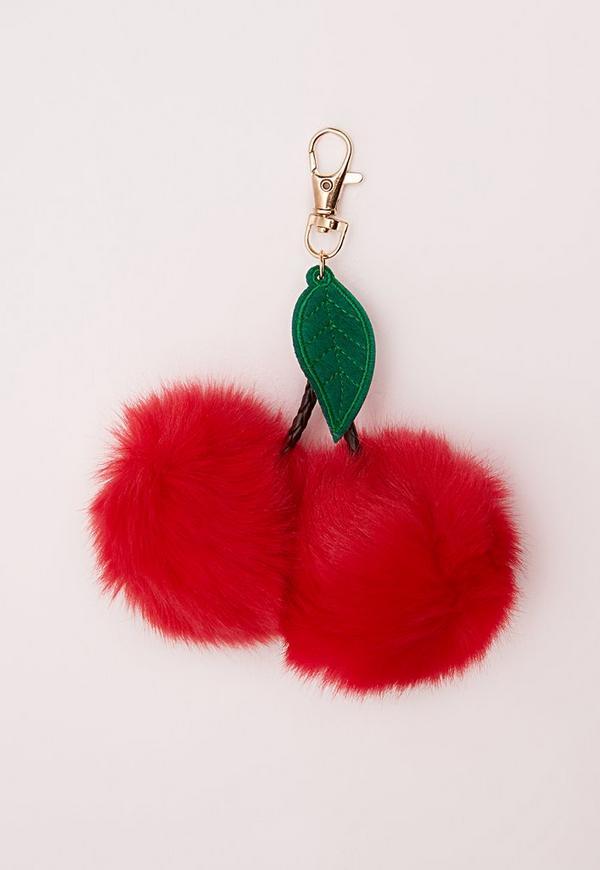 Fluffy Cherry Kitsch Keyring