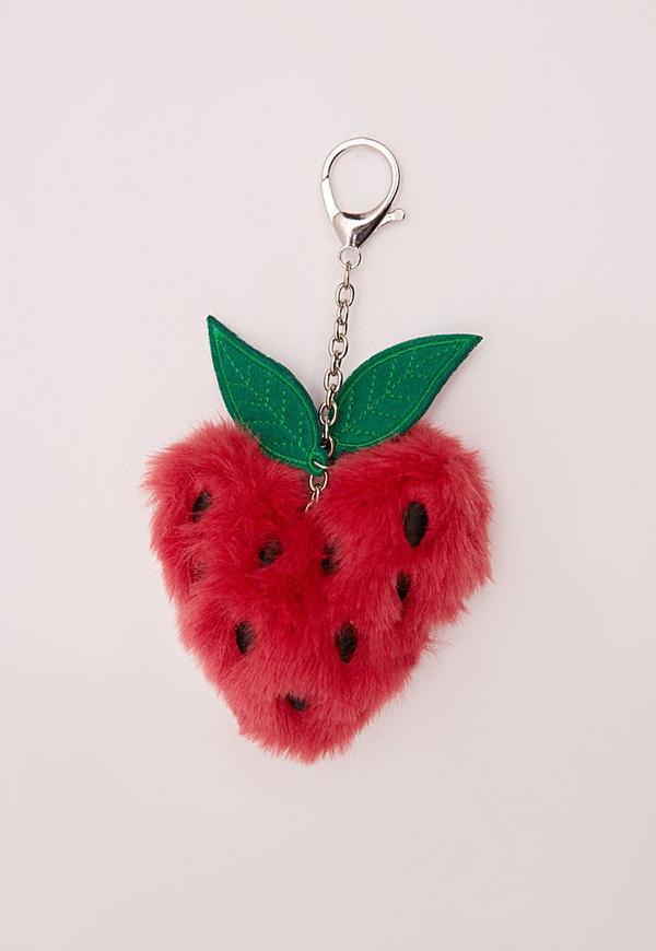 Fluffy Strawberry Kitsch Keyring