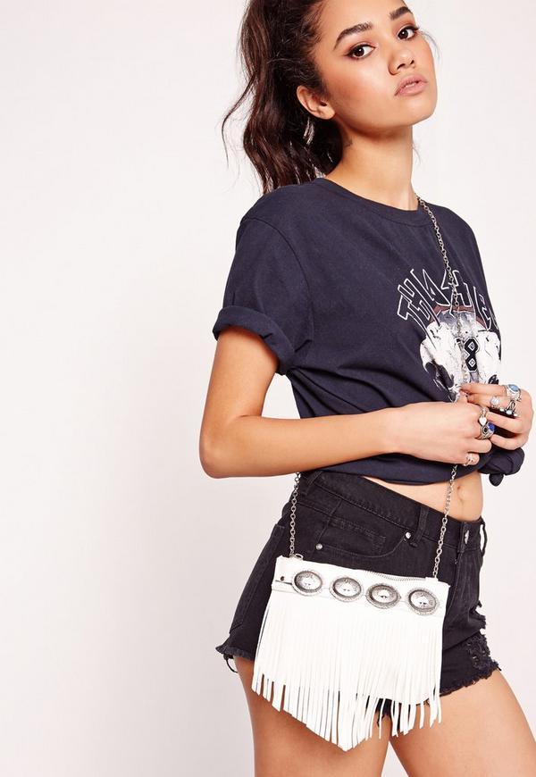 Concho Trim Tassel Mini Bag White
