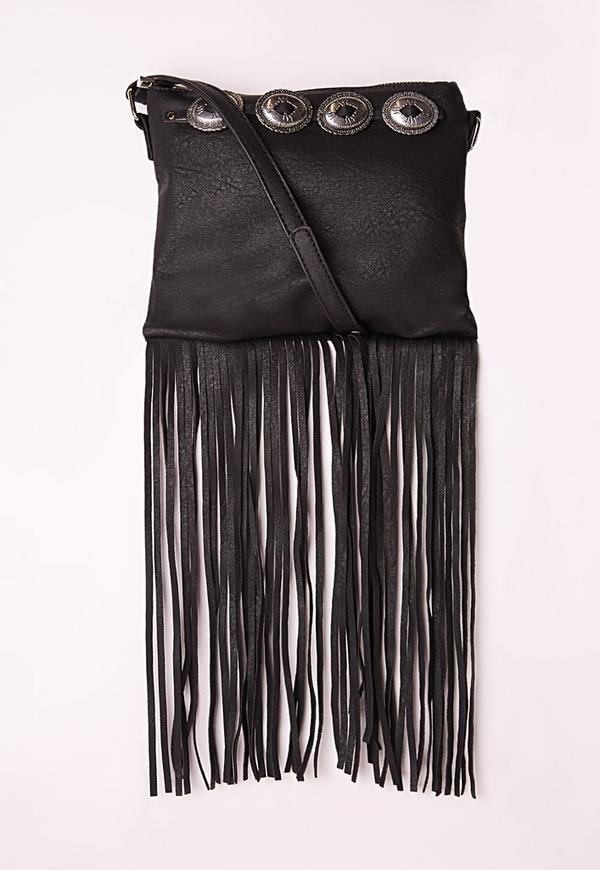 Concho Trim Tassel Shoulder Bag Black