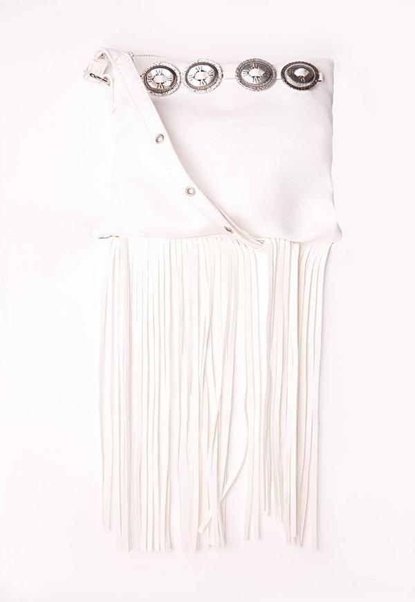 Concho Trim Tassel Shoulder Bag White