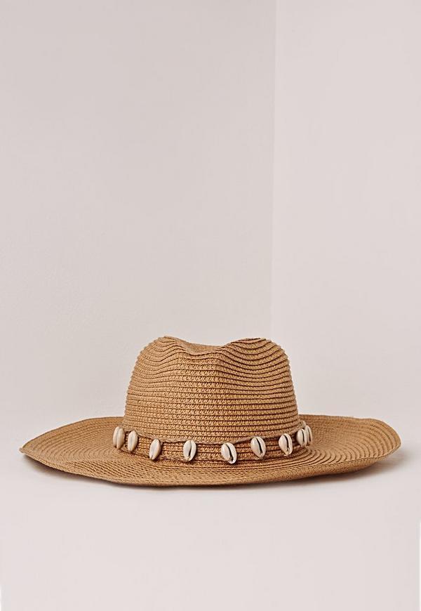 Shell Trim Straw Cowboy Hat Tan