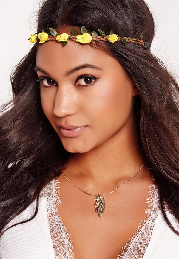 Floral Head Band Yellow