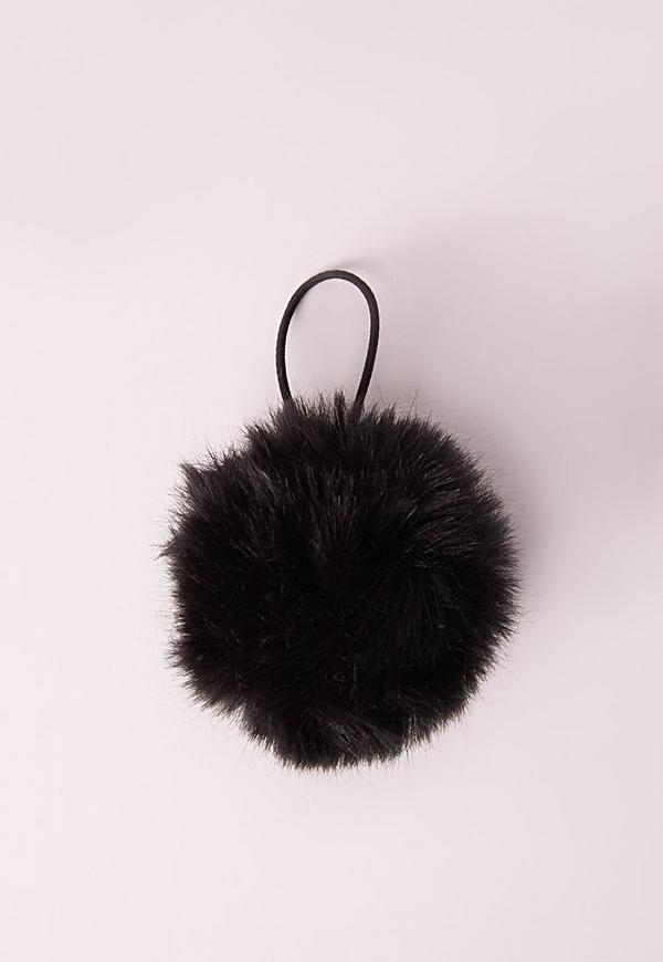 Fluffy Pom Pom Hair Bobble Black