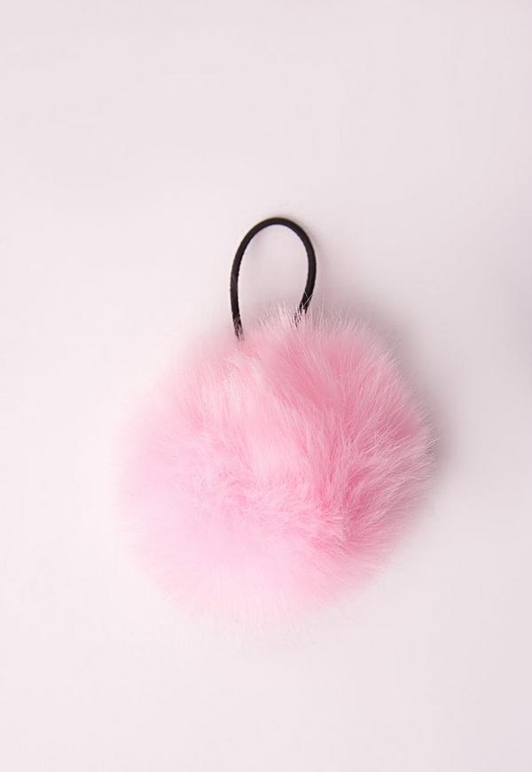 Fluffy Pom Pom Hair Bobble Baby Pink