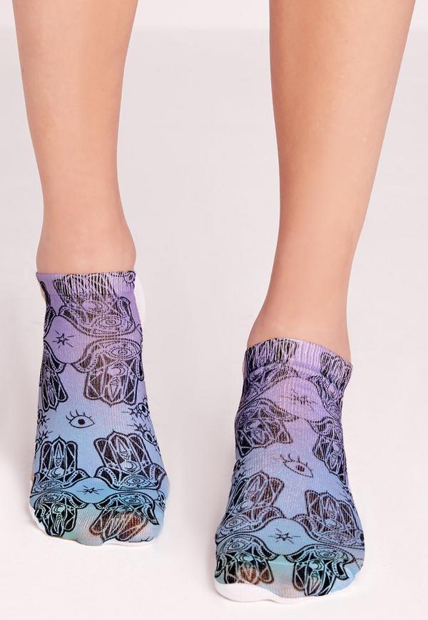 Hamsa Hand Socks Blue