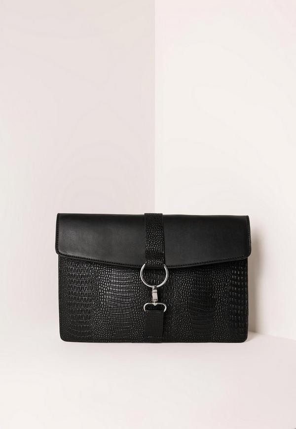 Harness Clasp Detail Contrast Clutch Bag Black