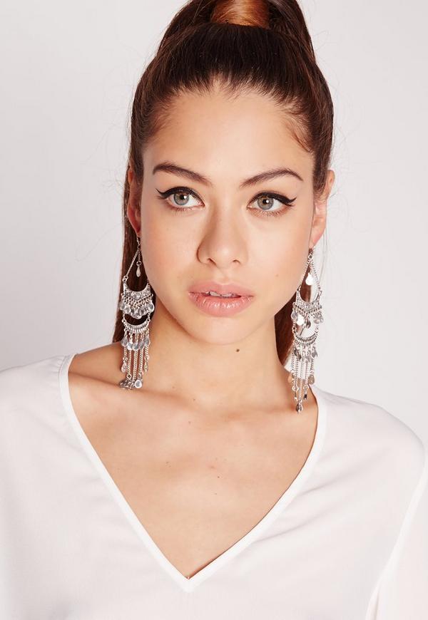 Silver Ethnic Drop Earrings