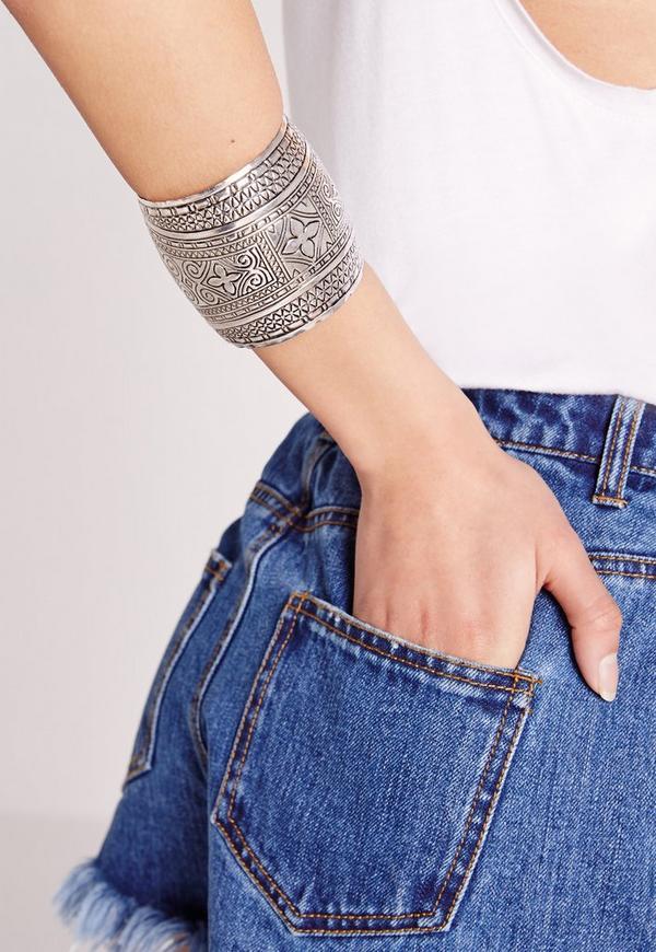 Aztec Arm Cuff Silver