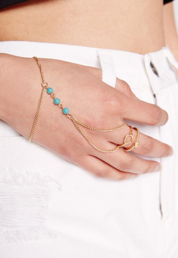 Gold Hand Chain And Ring Set