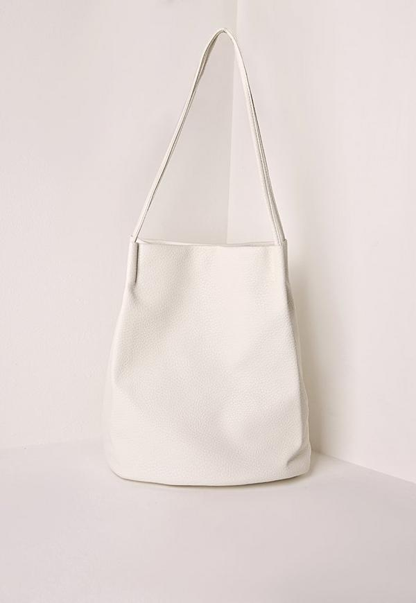 Minimal Tote Bucket Bag White