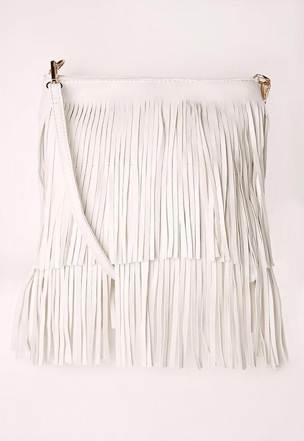 Fringe Shoulder Bag White