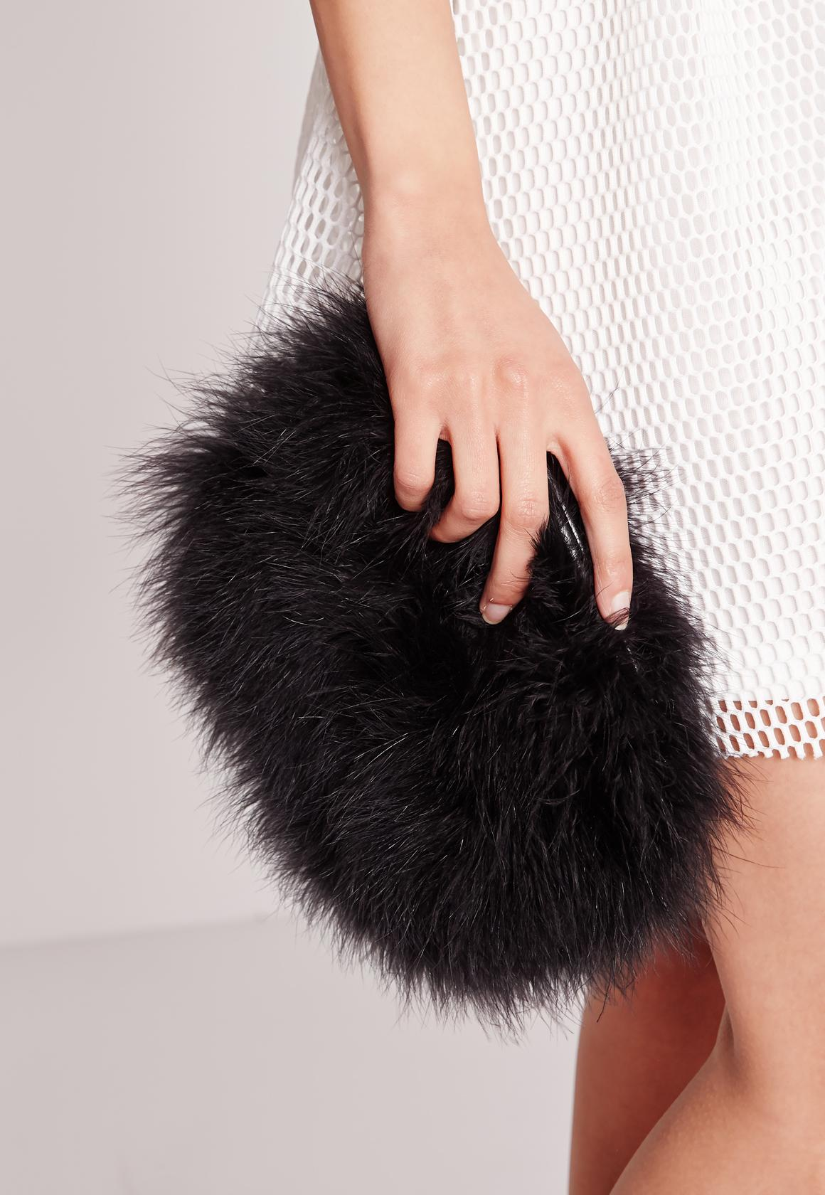 Black Feather Clutch Bag | Missguided