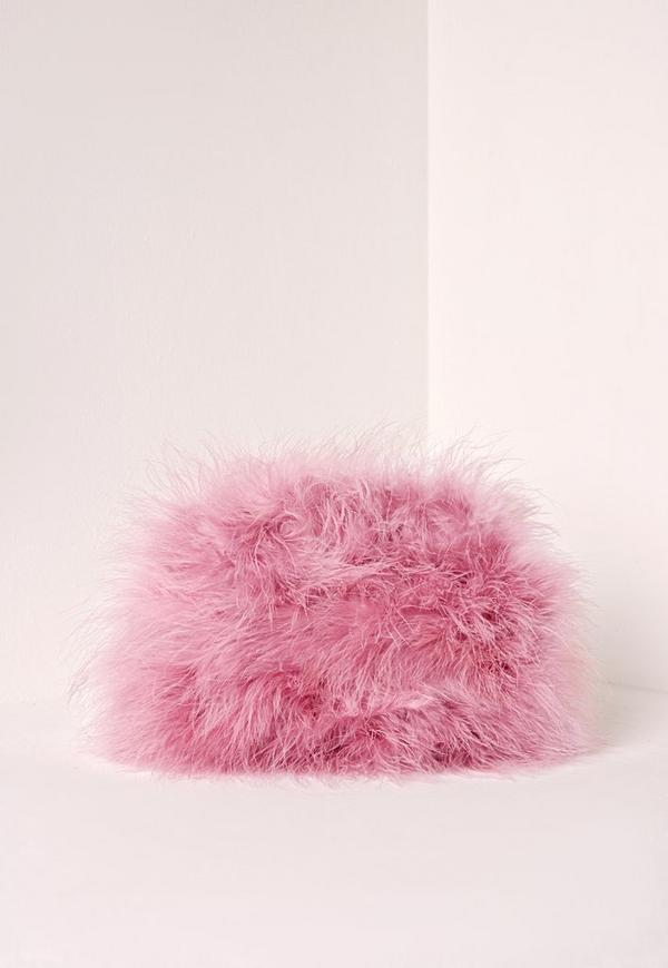 Feather Clutch Bag Pink