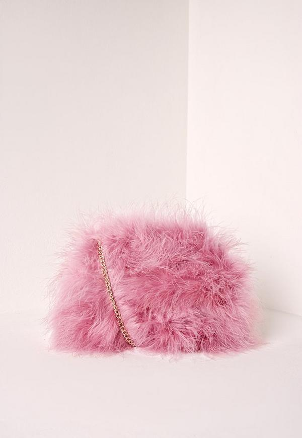 Feather Clutch Bag Pink Previous Next