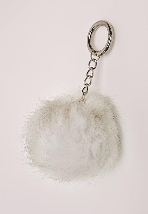 Faux Fur Pom Pom Keyring White