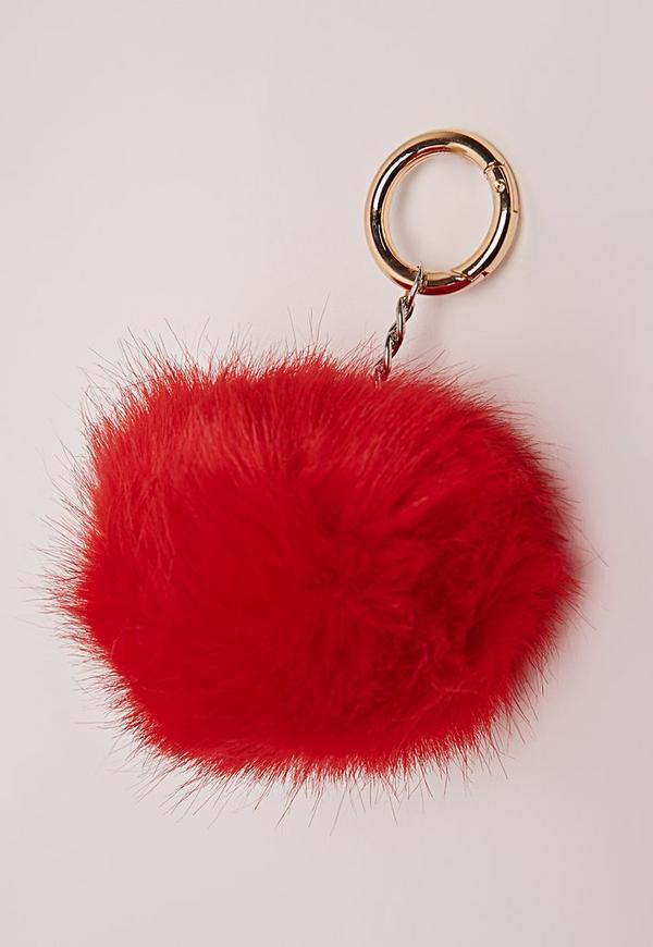 Faux Fur Pom Pom Keyring Red