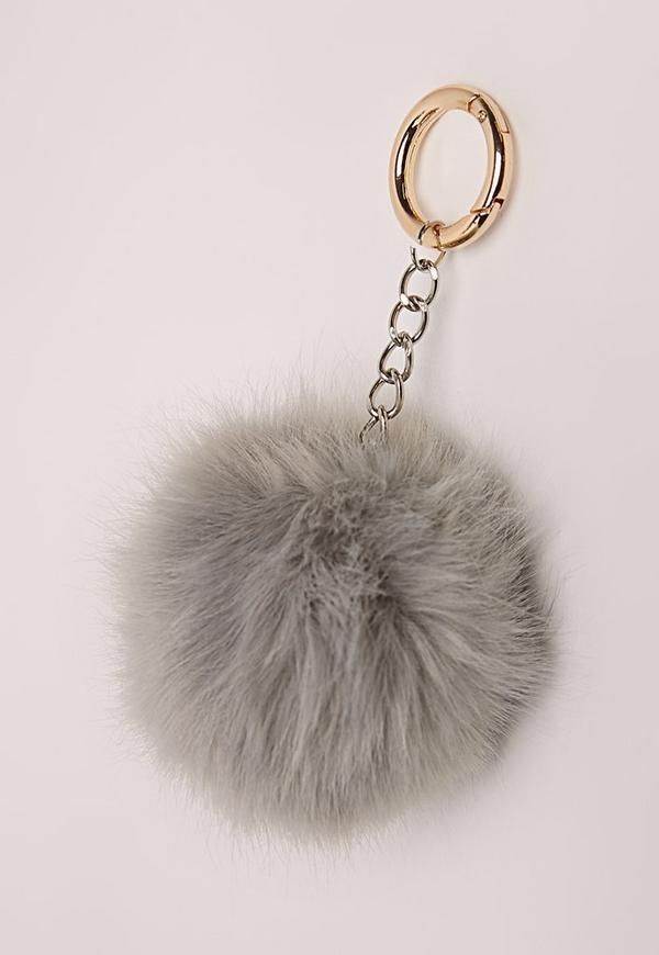 Faux Fur Pom Pom Keyring Grey