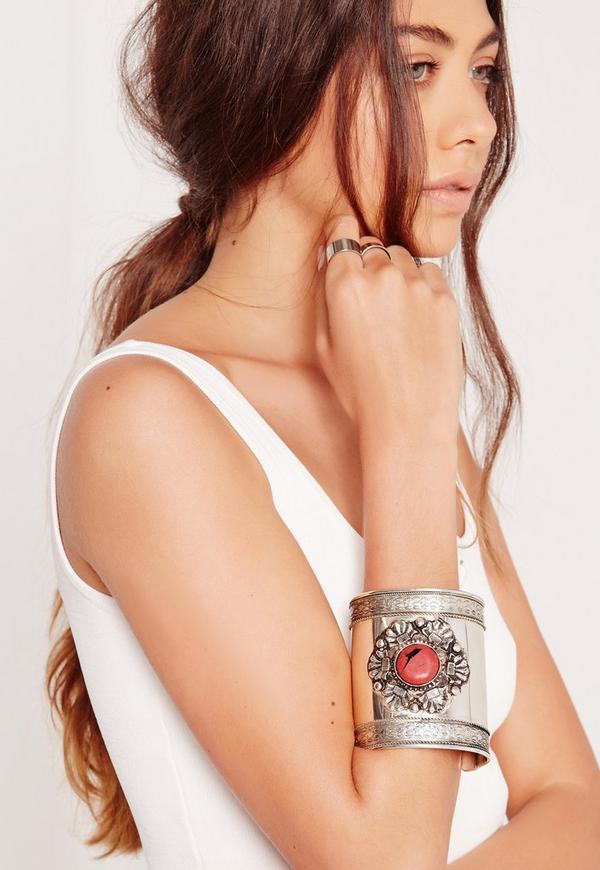 Coral Stone Cuff Bracelet Silver