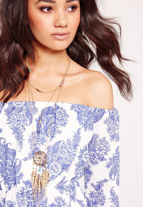 Dream Catcher Layered Necklace Gold