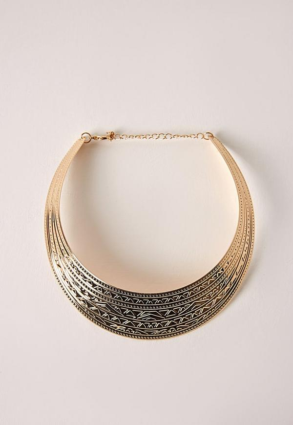 Embossed Collar Necklace Gold