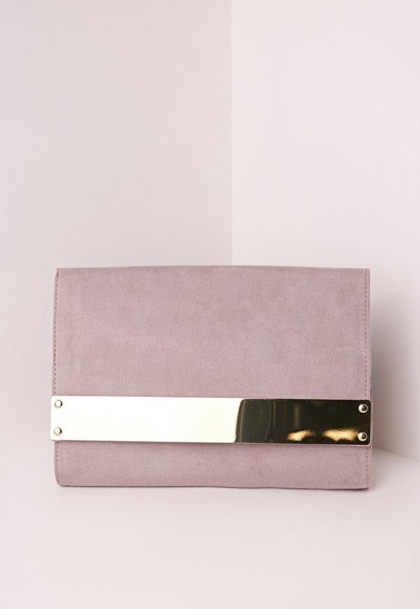 Metal Plate Clutch Bag Lilac