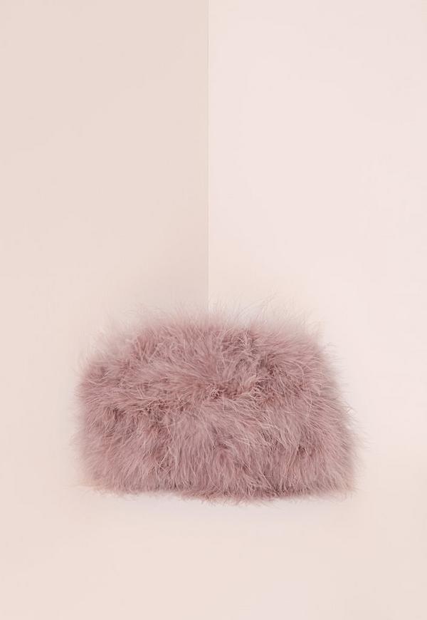 Feather Clutch Bag Mauve