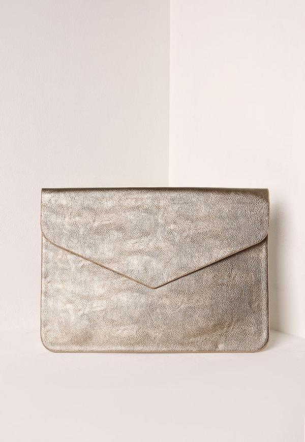 Oversized Metallic Envelope Clutch Bag Silver