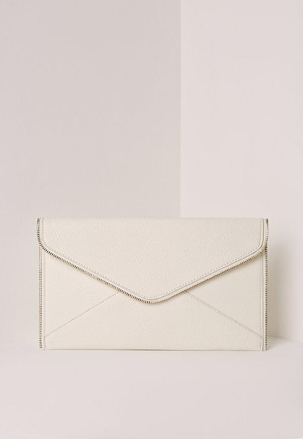 Metal Edged Envelope Clutch Bag Cream