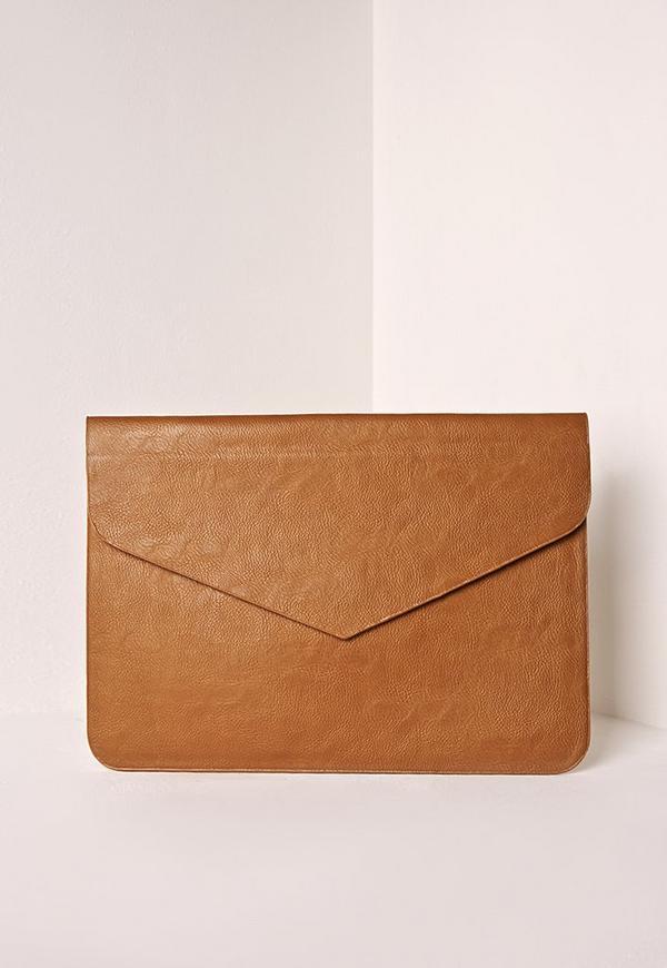 Oversized Envelop Clutch Bag Tan