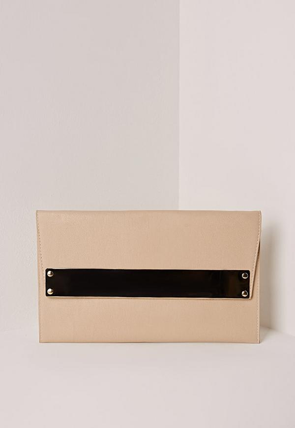 metal plate clutch bag nude