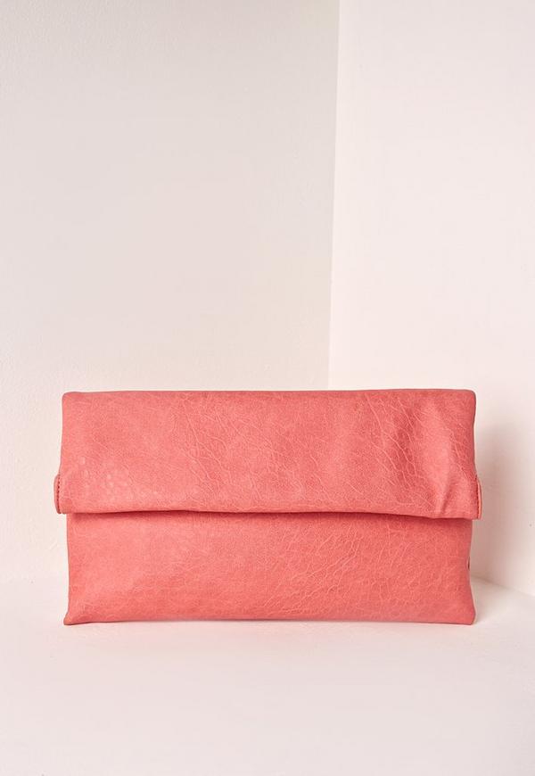 Fold Over Clutch Bag Pink