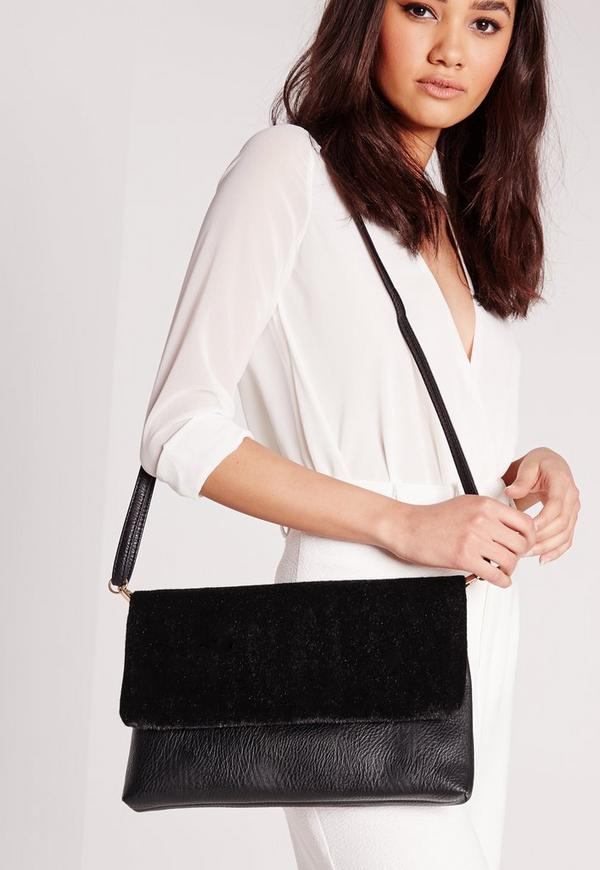Faux Pony Fold Over Clutch Bag Black