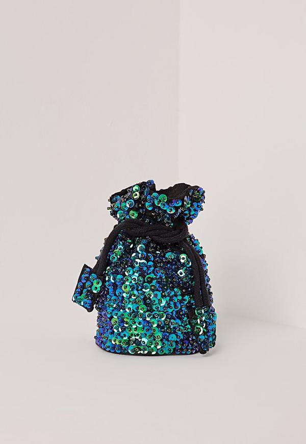 Drawstring Sequin Festival Bag Green