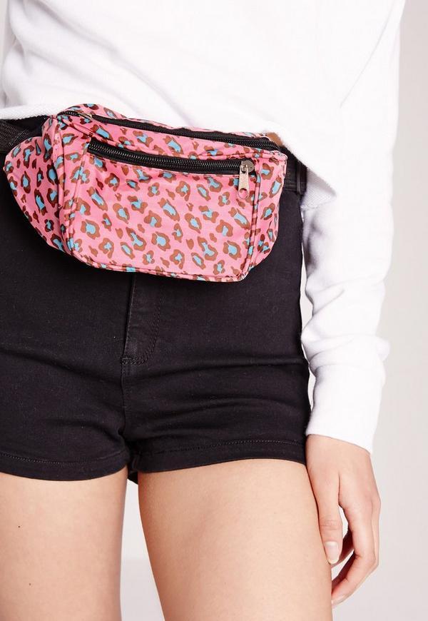 Neon Leopard Bum Bag Pink