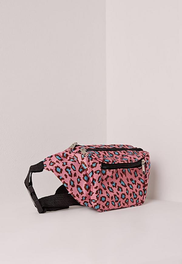 Leopard print hip bag, animal fabric flat fanny pack, black mini waist pouch, small bum bag, festival utility belt, neon blue hippie purse ANAMARIJAbags 5 out of 5 stars.