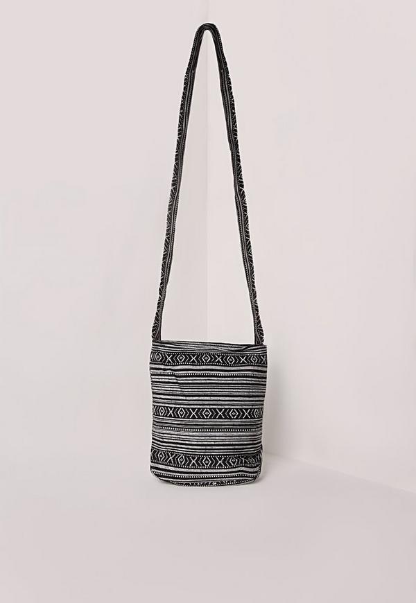 Festival Stripe Cross Body Bag Black