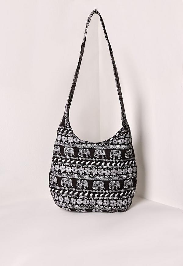 Elephant Print Beach Bag Black