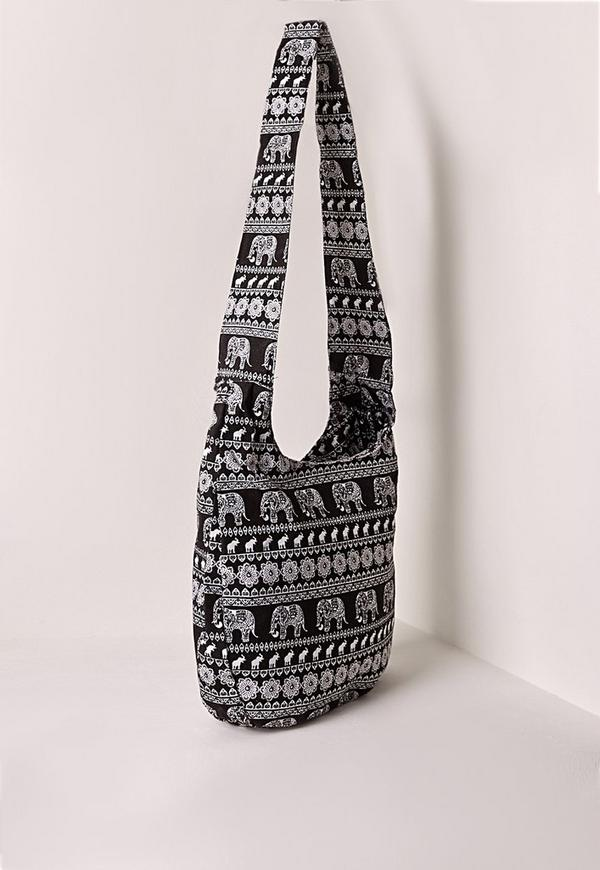 Elephant Print Beach Bag Black | Missguided