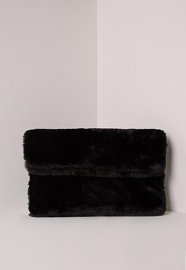 Fold Over Fur Clutch Bag Black