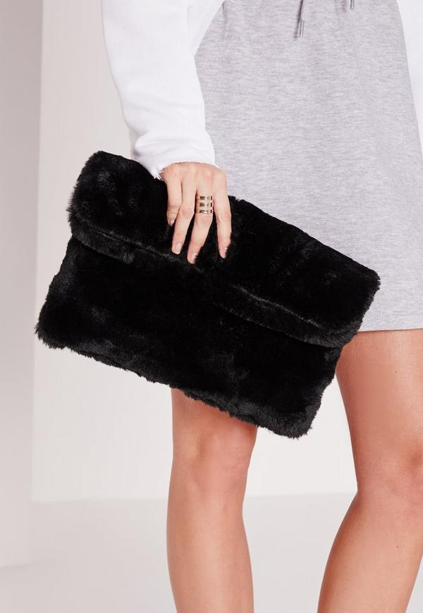 Fur Clutch Bag Black Previous Next