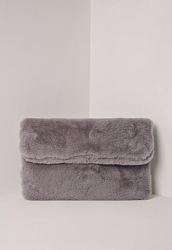 Fold Over Faux Fur Clutch Bag Grey