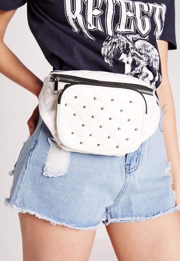 Stud Detail Bum Bag White