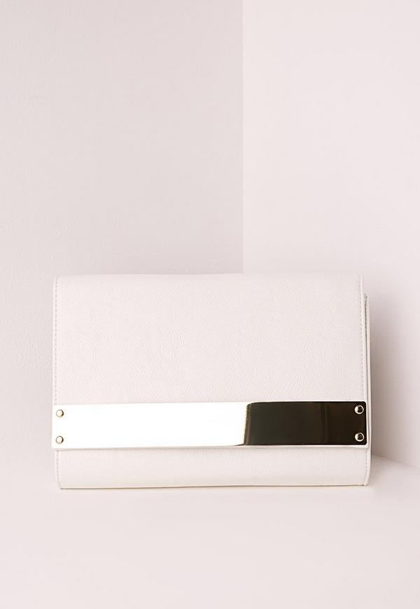 Metal Plate clutch Bag White