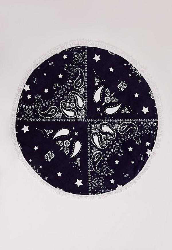 Paisley Print Round Towel Navy