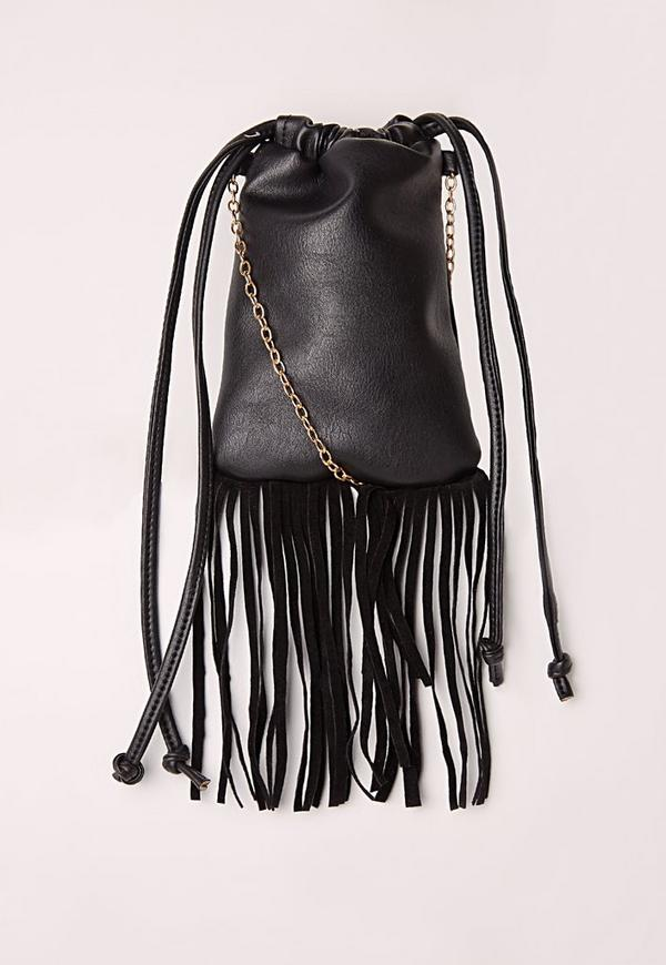 Fringed Detail Festival Phone Bag Black