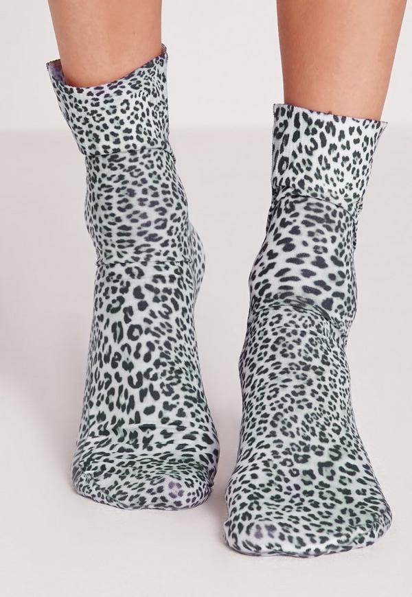 Leopard Print Ankle Socks Grey