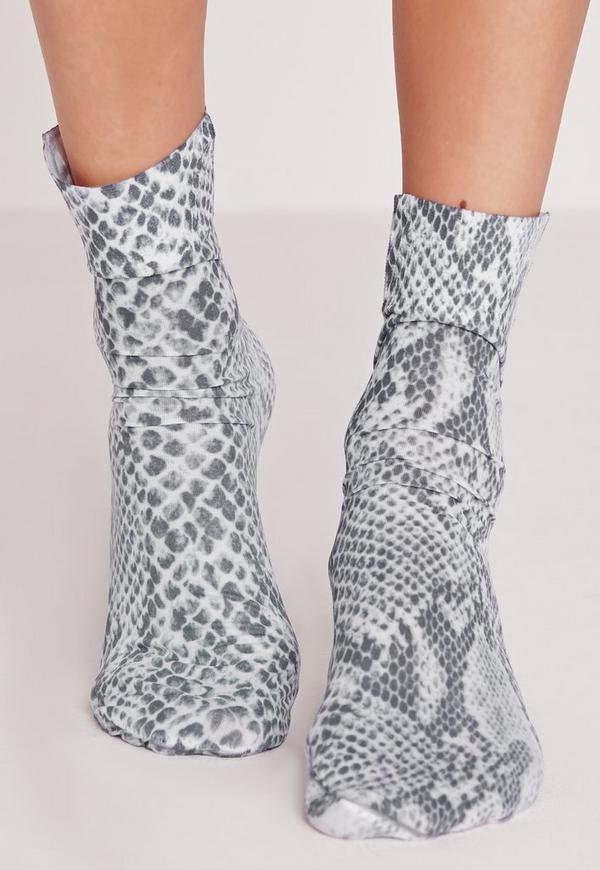 Snake Skin Ankle Socks Grey