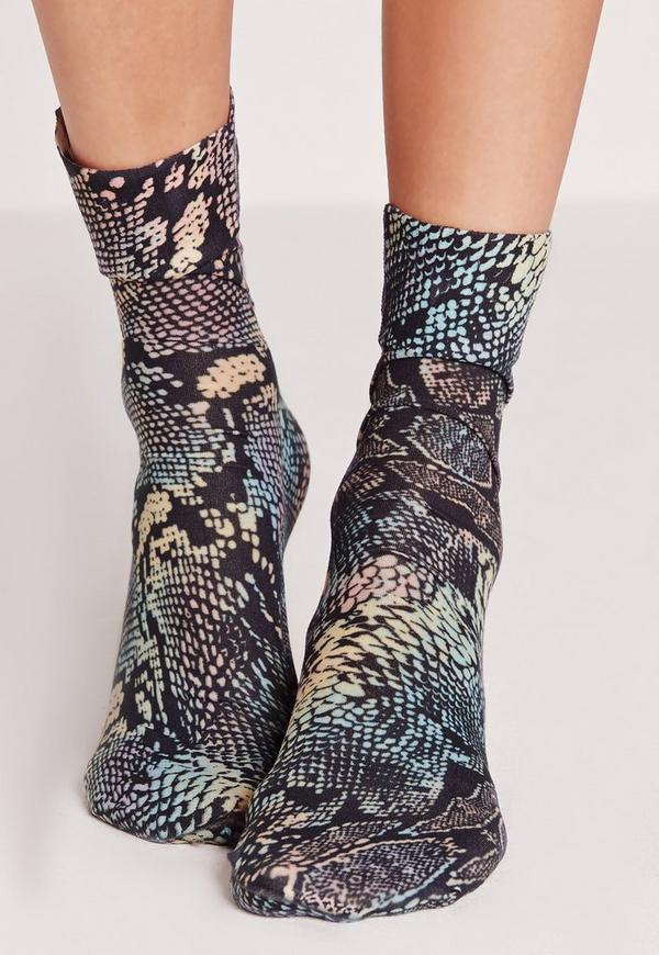 Snake Skin Ankle Socks Multi