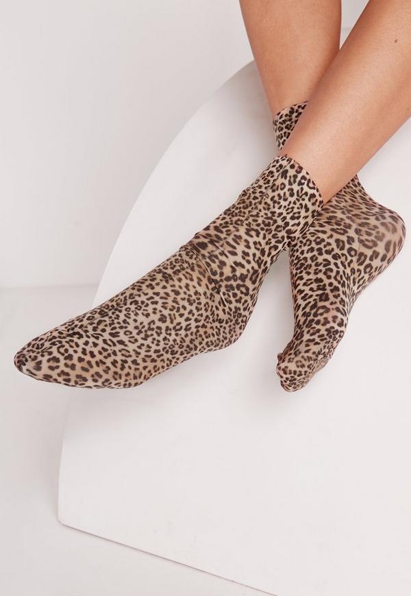 Leopard Print Ankle Socks Brown